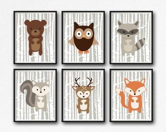 Printable Woodland Animals Nursery Decor, Forest Animals Wall Art, Woodland Wall Art, Nursery Wall Art, Birch, Set of 6, Instant Download