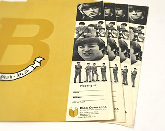 1960s Beatles Gift, Music Gift for Her, Unused School Textbook Covers, Set of 4, Vintage 1964 Beatles Memorabilia, Nems LTD, Collectible