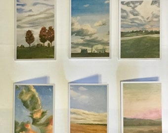 6 Blank Note cards with Landscape paintings