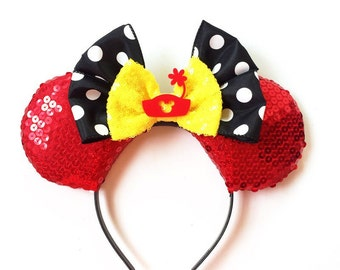 Minnie Ears, Minnie Mouse Ears, Minnie Mouse Ears Headband, Disney Inspired Ears, Mickey Ears, Polka Dot Minnie Ears, Ready to Ship