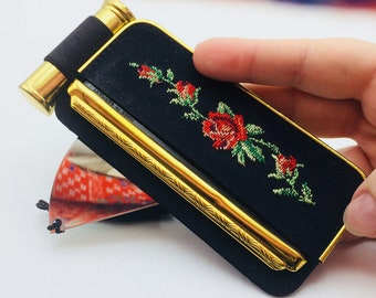 Comb holder, mirror and cases of lipstick in black silk  embroidered rose flower make-up accessory necessary makeup