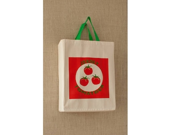 Green Tomato, Reusable Grocery Bag, Free Shipping, Farmers Market Bag, Eco Friendly Bag