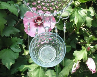Shimmering Blue Bubble Pattern, Cup and Saucer Wind Chime with Hand Made Stained Glass Chimes
