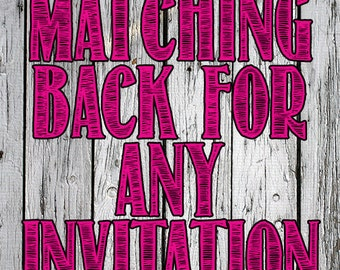 Matching back for any invitation design - double sided invitation - pattern on back of invite - add on to any custom printable design