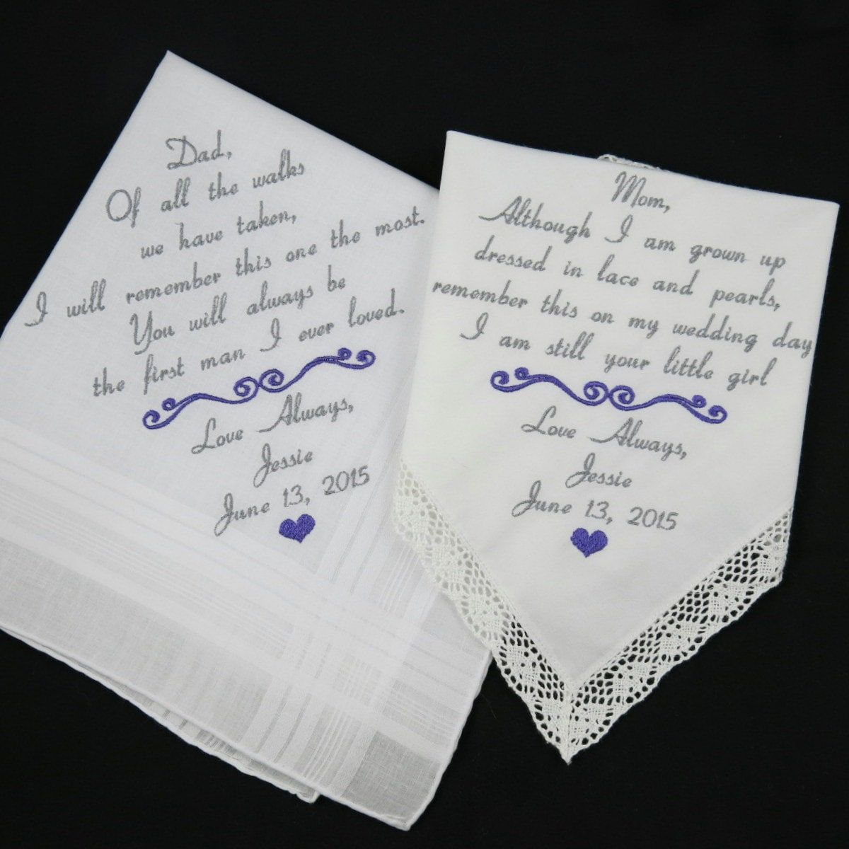 Set of 2 Wedding Gifts for Parents of the Bride Embroidered Wedding ...