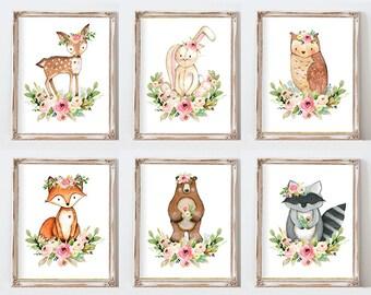 Girl Woodland Nursery Art, Watercolor Animal Prints, Woodland Nursery Decor, Pink Nursery, Forest Animals, Printable Nursery Art
