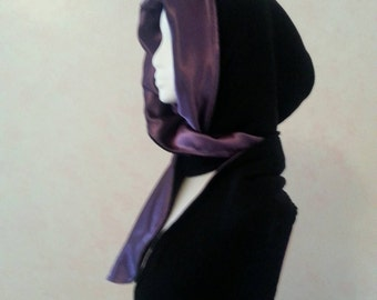Hooded scarf.Hoodie.Gothic style hood and scarf. One piece. Hooded scarf. Gothic scarf. Scoodie