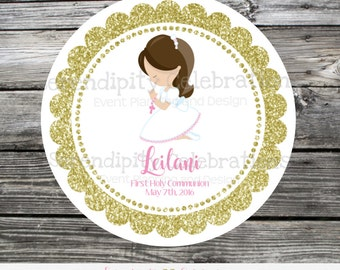 First Communion, Baptism, Confirmation, Religious, Set of 12 Personalized Favor Tags, Stickers, Thank You Tag, Gold glitter, Cross, pink