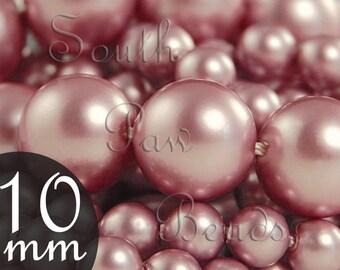 10mm Round pearls, Powder Rose, by Swarovski, Qty 10