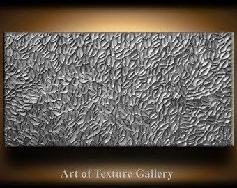 Large Abstract Texture Painting 48 x 24 Original Modern Silver Pewter Carved Metallic Knife Oil by Je Hlobik