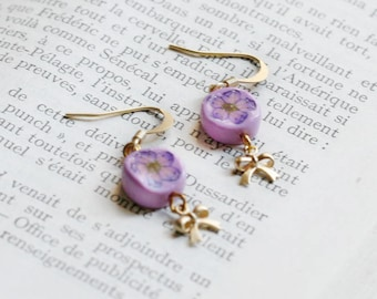 Purple and pink flower earrings with polymer clay