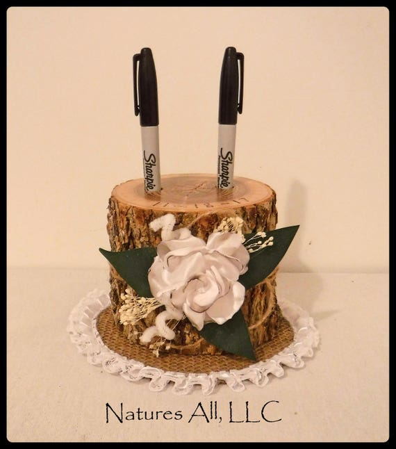 Pen Holder AND Doily-Tall/Guest Book Pen Holder-Ash With Satin Flower/Wood Pen Holder/Log Pen Holder/Rustic Country Wedding Decor