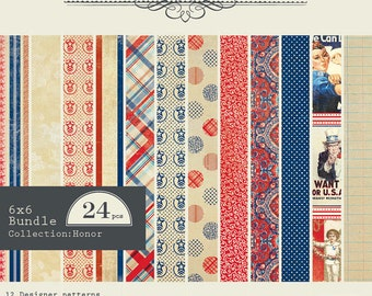 """AUTHENTIQUE Honor Collection, Paper Crafting Kit, 24 sheets, 6"""" X 6"""" paper pad, Patriotic/Americana Scrapbook and Papercraft"""