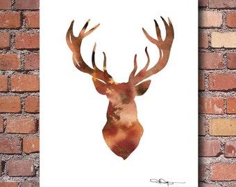 Deer Art Print - Abstract Buck Watercolor Painting - Wall Decor