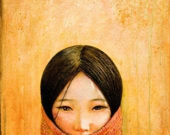 Tibet art print,Image of Tibet, golden color giclee print on professional paper or canvas by Shijun Munns,Spiritual Art,wall art, art gift