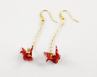 Origami Crane Drop Earrings, Paper Crane Jewelry, Origami Earrings, Tsuru Jewelry, Red and Gold Japanese Paper Creanes with Gold Hematite