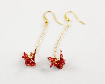 Origami Crane Drop Earrings, Paper Crane Jewelry, Origami Earrings, Tsuru Jewelry, Red and Gold Japanese Paper Creanes with Gold Hematite