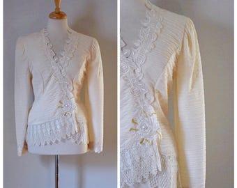 90s Blouse / 1990s Blouse / Vintage Blouse / White Blouse / Lace Blouse / Western Style / Vintage Top / Formal Blouse / Size Small