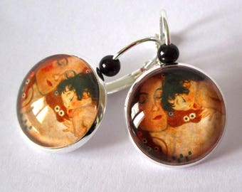 Earrings cabochon - Gustav Klimt - mother to child