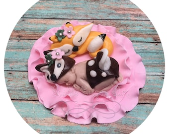 WOODLAND CAKE TOPPER Fox Fondant Baby forest Animals Baby Boy shower baby deer fondant cake topper