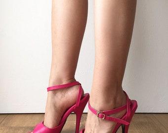 RTBU SALMA 12cm Stiletto Heel Wrap Strap Sandals Slipper Hot Pink Matte
