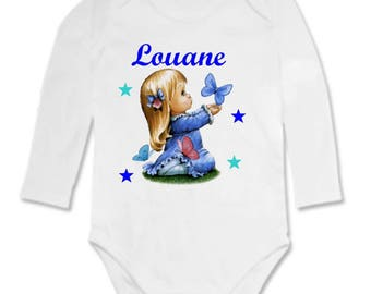 Bodysuit baby girl Butterfly personalized with name