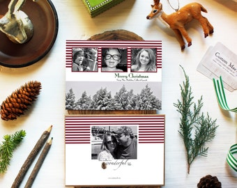 Personalized Christmas Cards, Holiday Four Photo Card, Three Photo Printable Card, Fast Service, Winter Trees, Snowy Christmas, Pine Cones