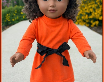 "Bright Orange T-Shirt Dress w Choice of Accessories this Outfit fits like American Girl Doll Clothes, or Nearly Any Other 18"" Doll's Clothes"