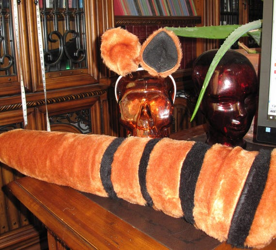 Lemur brown/black striped luxury shag faux fur ears tails & sets