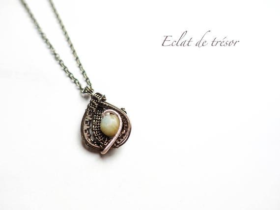 Gaia Draht wickeln Naturstein Amazonite Halskette