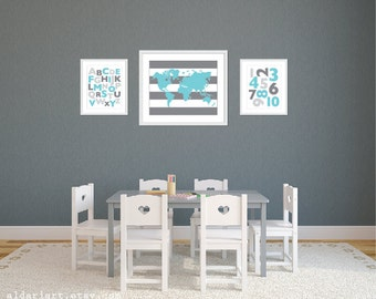 Playroom World Map Abc 123 Art Prints - Grey and Blue - Alphabet and Numbers Art Prints - Playroom Wall Art