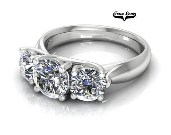 Moissanite 2.20 Carat Engagement Ring 14kt White Gold, Forever Brilliant, Wedding Ring,Trinity, Past Present Future,Three Stone ring  #7875c