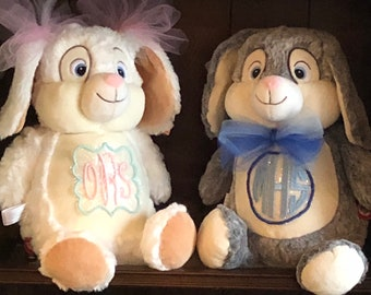 MONOGRAMMED PERSONALIZED BUNNY Plush Stuffed Animal - Great Easter/ Baby Shower Gift !!