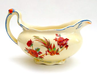 1920s Art Deco Royal Venton Ware Jug, Creamer or Sauce Boat, Tropical Bird and Flowers Pattern