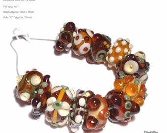 AUTUMN CHA CHA  Handmade Lampwork Bead Set in Fall Colors Brown Sienna SQuash Ivorry Olive  Set of 12