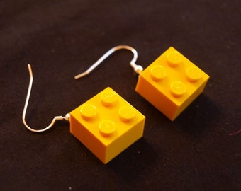 Yellow Lego Block Earrings