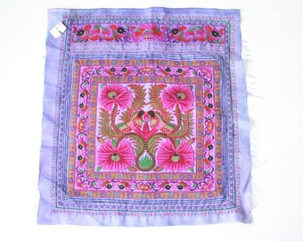 Purple Flower Hmong Embroidered Thai DIY Fabric Large