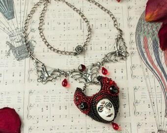 Unique necklace Crying vampire necklace Weird necklace  Gothic jewelry Artisan strange jewellery Painted artisan mask Bleeding bib necklace