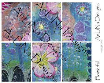 Flowerful Printable Art Journal Cards, 3x4, Digital Download