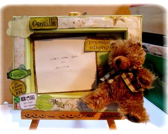 Canvas photo frame wrecked with blanket