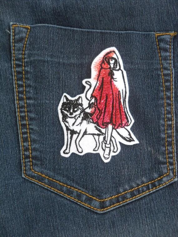 Marvelous Rot Und Dem Wolf Stickerei Eisen Auf Patch, Rotkäppchen Haube Patch,  Rotkäppchen, Die Kapuze, Wunderland, Patches Für Kleidung