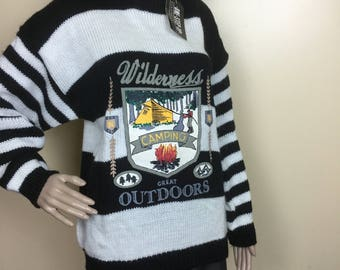 Vintage 80s Sweater , 1980s Graphic Novelty OS sweater punk Hip hop Large l new kids