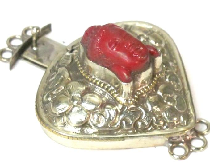 1 clasp - Large triangular heart shape  ethnic Tibetan silver finish red buddha box clasp pendant from Nepal - LN039G