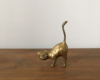 mid century hollywood regency brass cat