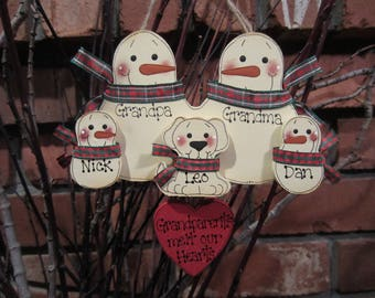 Grandparent Personalized Ornament, family ornament, personalized snowman ornament, Grandparents Melt Our Hearts, Personalized family of five