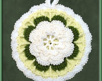Crocheted White Rose Potholder/Wall Art with Yellow Background