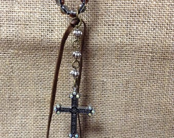 Hand-Tied Cross Necklace
