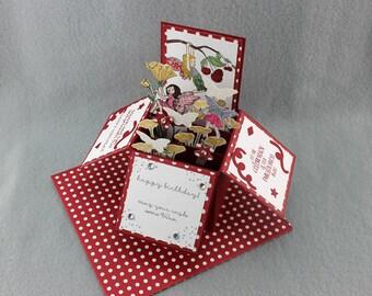 Fairy Birthday Pop Up Card - One of a Kind Fairy Card - Fairy Garden Card in a Box - Hand Stamped Birthday Card - Handmade Explosion Card