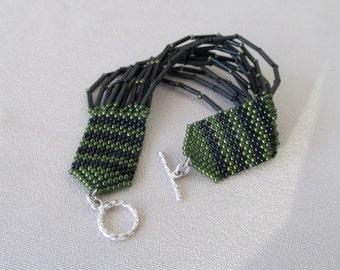 Hand Beaded Bugle Bead Bracelet, Black and Olive Green