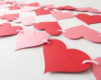 Heart Garland / Red Pink Anniversary Garland / Adjustable Hand Sewn / Love Photo Prop / Wedding Garland / Nursery Decor
